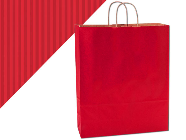 """Really Red Shadow Stripe Kraft Bags Queen 16x6x19.25"""", 25 Pack"""