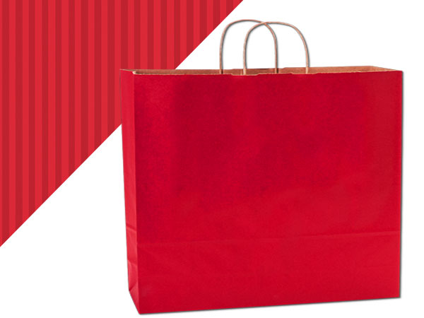 "Really Red Shadow Stripe Kraft Bags Vogue 16x6x13"", 25 Pack"