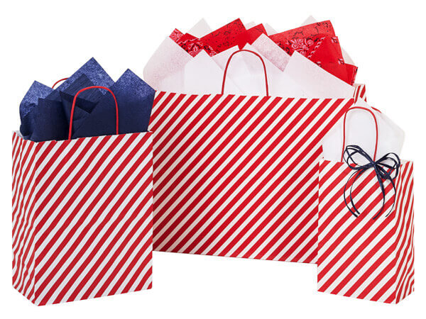 Red Stripe Paper Shopping Bags Assortment, 125 Pack