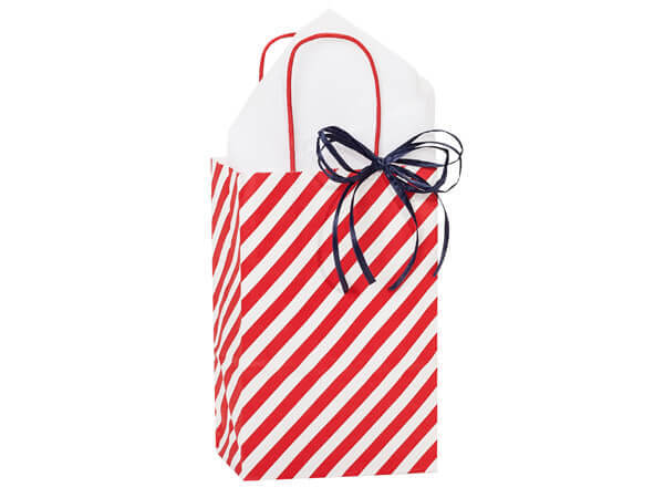 "Red Stripe Paper Shopping Bag Rose, 5.5x3.25x8.5"", 250 Pack"