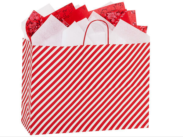 "Red Stripe Paper Shopping Bag Vogue, 16x6x12"", 250 Pack"