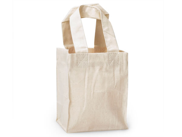 """Canvas Reusable Shopping Bag Totes, X-Small 4x3x5.25"""", 10 Pack"""