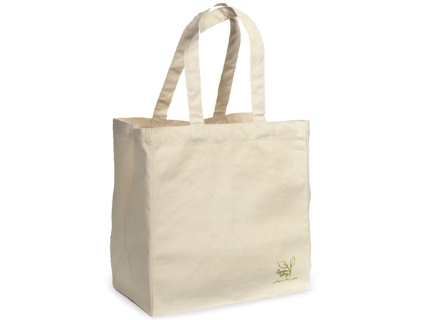 "Canvas Reusable Shopping Bag Totes, Large 12.5x8.5x13.5"", 50 Pack"