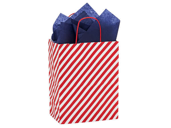 "Red Stripe Paper Shopping Bag Cub, 8x4.75x10.25"", 25 Pack"