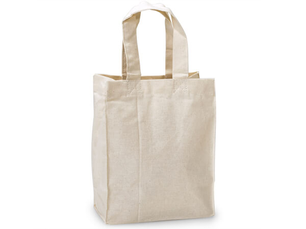 """Canvas Reusable Shopping Bag Totes, Small 6.5x3.5x8"""", 10 Pack"""