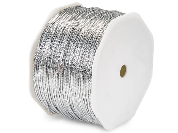 "Silver Metallic Tinsel Braided Cord 1/16""x100 yds Ribbon"