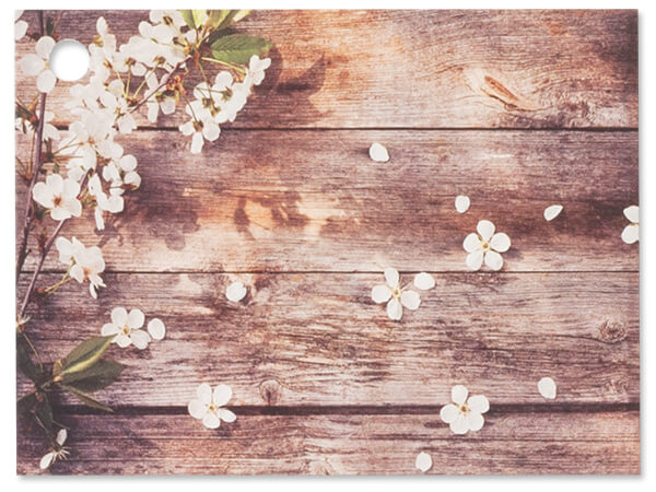 Rustic Wood Blossoms Theme Gift Cards 3-3/4x2-3/4""