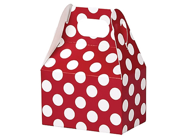 "Red & White Dots Mini Gable Boxes, 4x2.5x2.5"", 6 Pack"