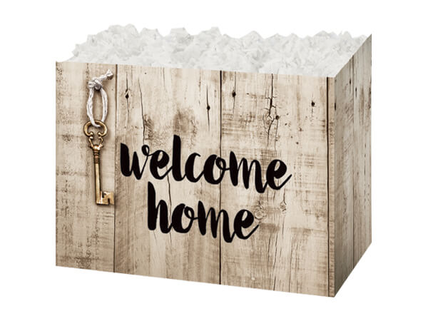 Small Rustic Welcome Home Basket Boxes 6-3/4x4x5""