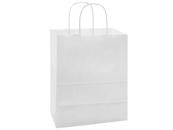 "40% Recycled White Paper Bags, Cub, 8x4.75x10.25"", 25 Bulk Pack"