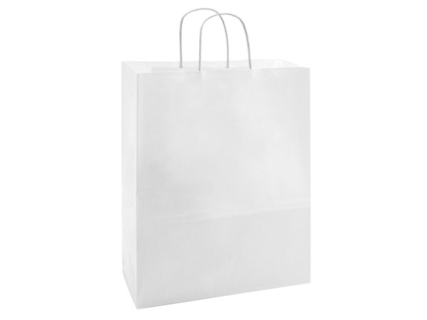 """40% Recycled White Paper Bags, Carrier 10x5x13"""", 25 Pack"""