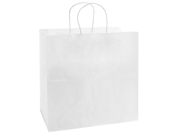 "40% Recycled White Paper Bags, Filly, 13x7x13"", 25 Bulk Pack"
