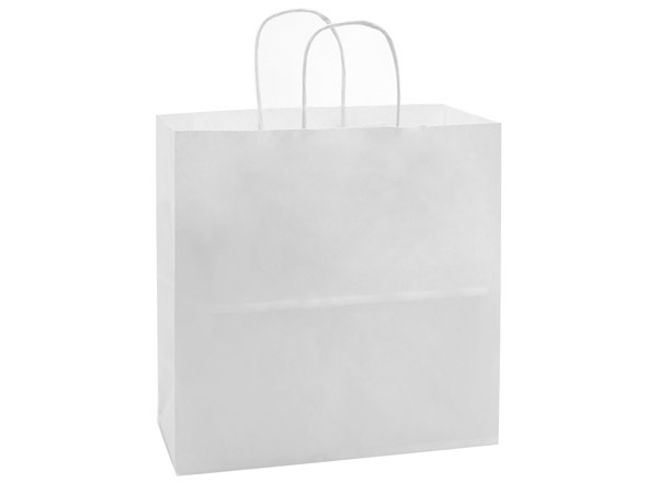 """40% Recycled White Paper Bags, Joey 10x5x10"""", 25 Pack"""