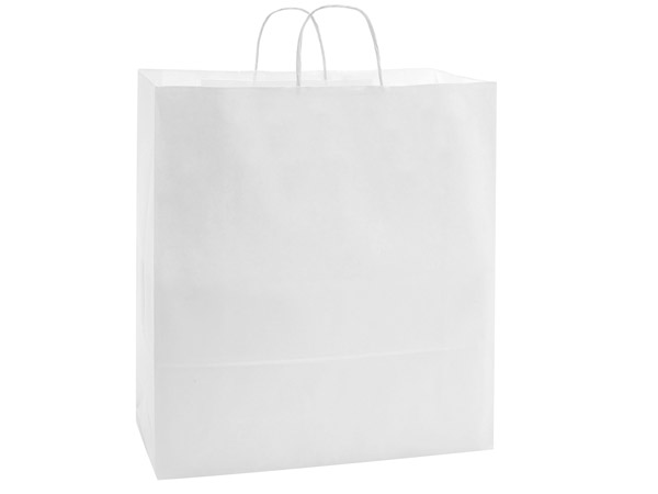 "40% Recycled White Paper Bags, Queen, 16x6x19"", 25 Bulk Pack"