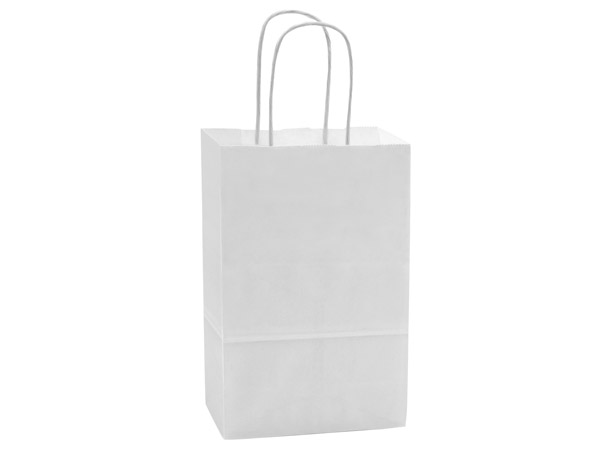 "40% Recycled White Paper Bags, Rose, 5.5x3.25x8.25"", 25 Bulk Pack"