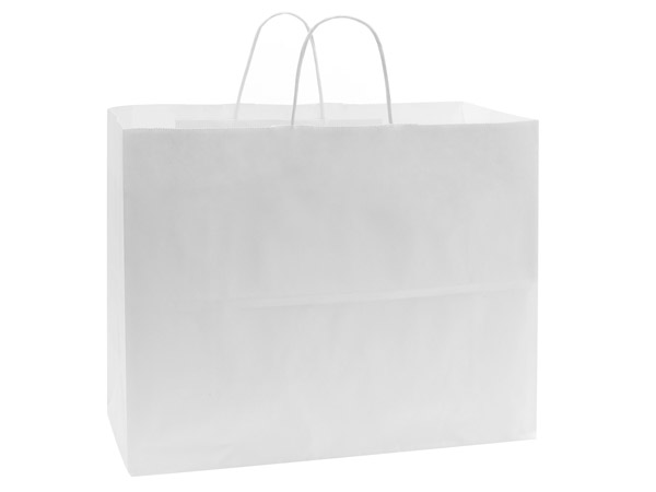 "40% Recycled White Paper Bags, Vogue, 16x6x12"", 25 Bulk Pack"