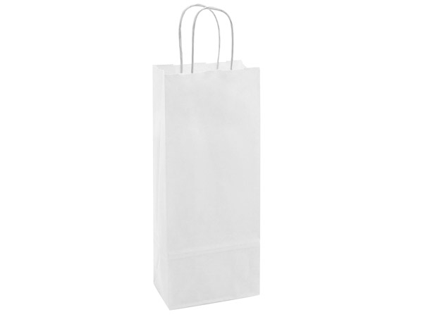 "40% Recycled White Paper Bags, Wine 5.5x3.25x13"", 25 Pack"