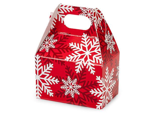 "Red & White Snowflakes Mini Gable Boxes, 4x2.5x2.5"", 6 Pack"
