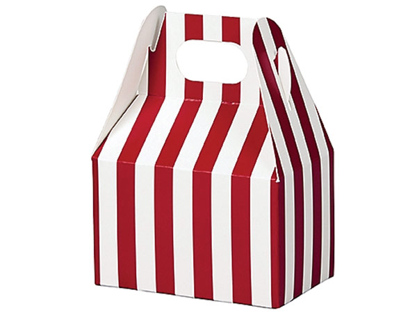 "Red & White Stripes Mini Gable Boxes, 4x2.5x2.5"", 6 Pack"