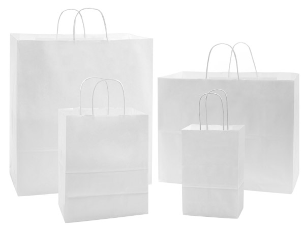 40% Recycled White Kraft Paper Bag Assortment 125 Pack