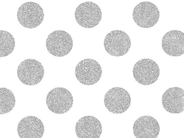 "Silver Shimmer Polka Dots 24""x417' Half Ream Foil Gift Wrap"