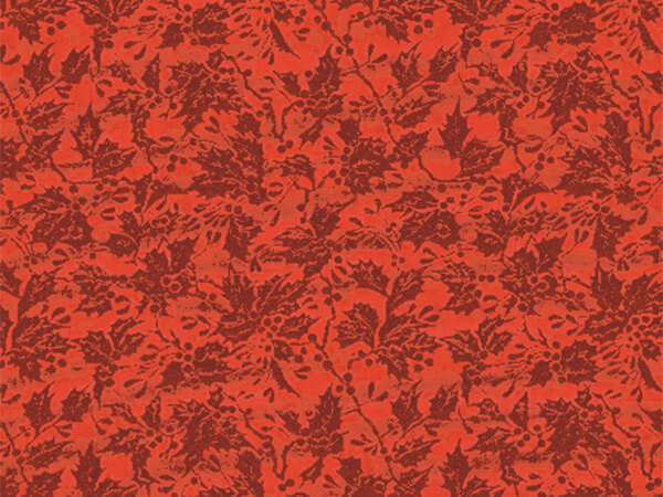 """Red Embossed Holly Foil Gift Wrap 26"""" x 417', Half Ream Roll"""