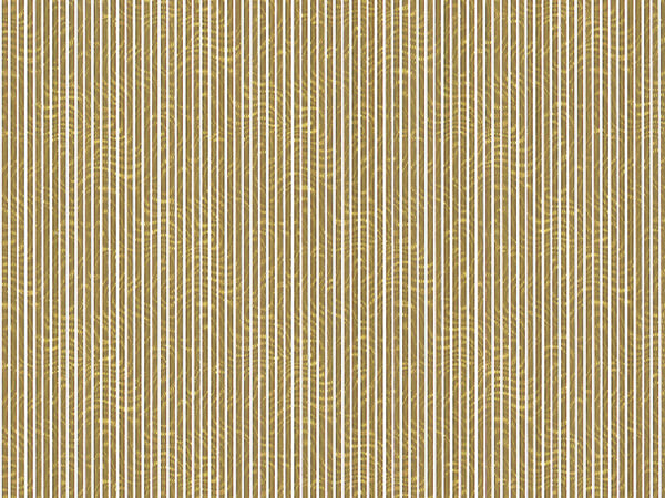 "Gold and White Stripes 18"" x 833' Full Ream Roll Embossed Gift Wrap"