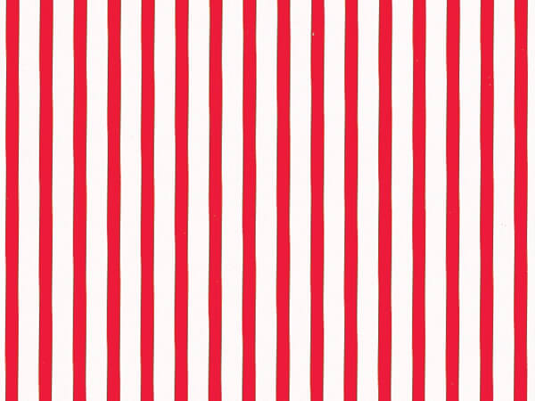 "Wide Red Stripes 24"" x 417' Half Ream Roll Gift Wrap"