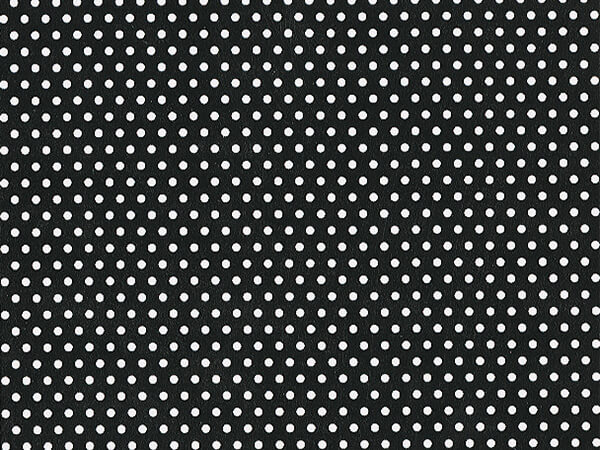 "Black and White Polka Dot 24""x417' Half Ream Roll Gift Wrap"