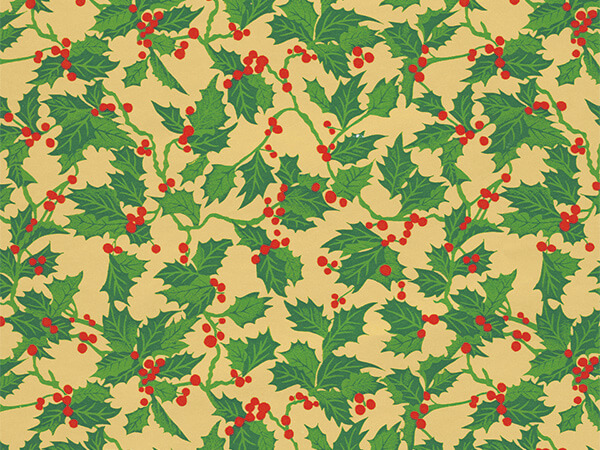 "Christmas Holly  30"" x 417' Half Ream Roll Gift Wrap"
