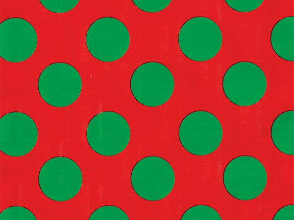 "Giant Green Dot on Red 30""x 417' Half Ream Gift Wrap (Foil)"