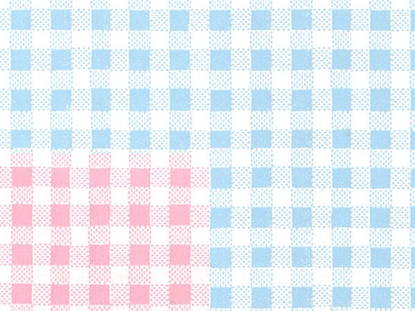 "Tiny Pink Or Blue Gingham 18""x417' Half Ream Gift Wrap (Reversible)"