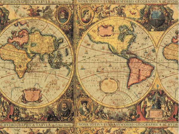 """Old World Map Wrapping Paper 24""""x417', Half Ream Roll"""