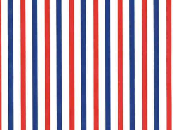 "Red and Blue Stripe 24"" x 417' Half Ream Roll Gift Wrap"
