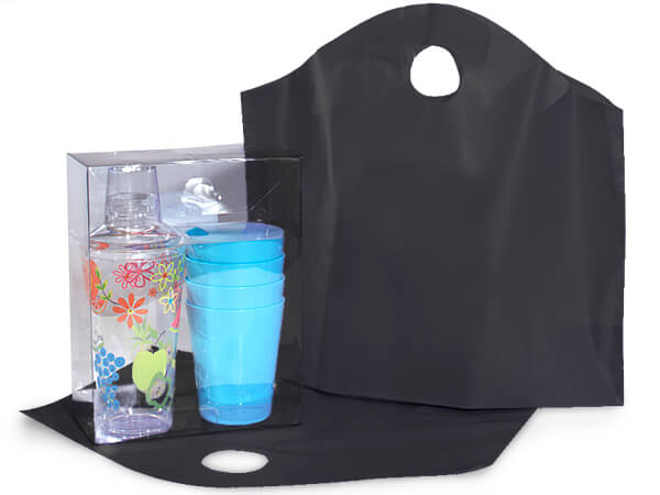 Black Wave Top Plastic Bags Medium 18x15x6""