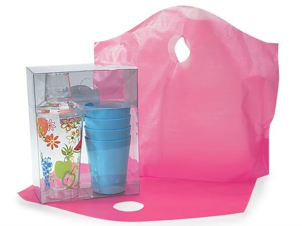 """Blazing Pink Wave Top Reusable Bag, Medium18x15x6"""", 250 Pack, 2.25 mil"""