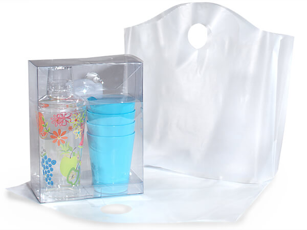 "Clear Wave Top Plastic Bags Medium 18x15x6"" 25% Recycled 2.25 mil"
