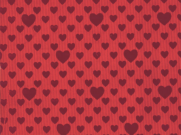 "Red Foil Embossed Hearts Gift Wrap 26"" x 417', Half Ream Roll"