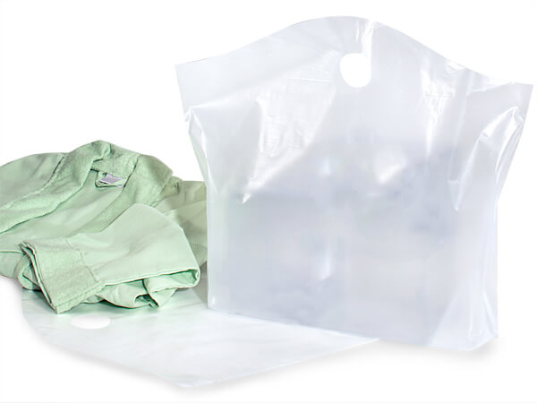 "Clear Wave Top Plastic Bags Large 22x18x8"" 25% Recycled 2.25 mil"