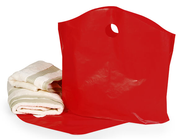 "Red Wave Top Plastic Bags, Large 22x18x8"", Bulk 250 Pack"