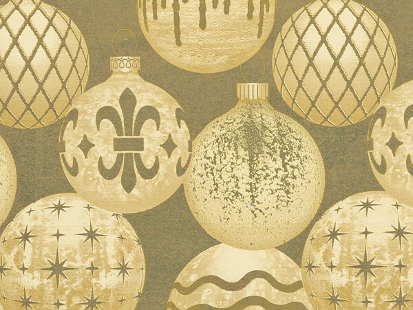 "Gilded Ornaments  30"" x 417' Half Ream Gift Wrap (Metallized)"