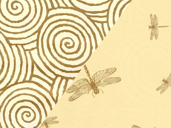 "Gold Swirl and Dragonfly 24"" x 833' Full Ream Gift Wrap (Reversible)"