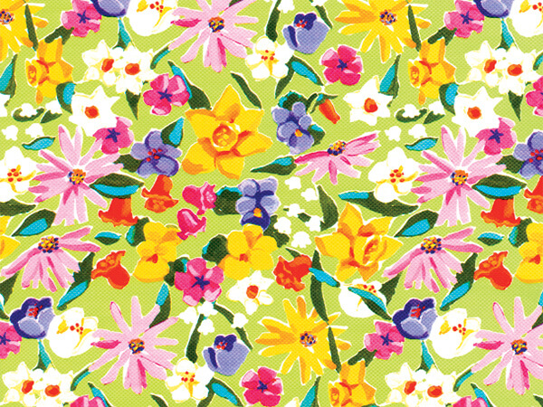 "Springtime Flower  18"" x 833' Full Ream Roll Gift Wrap"