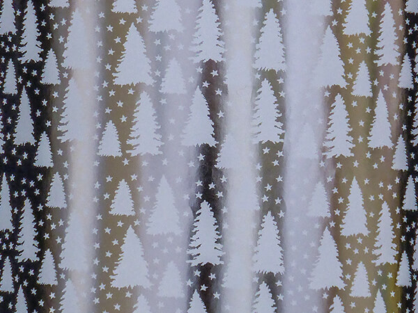 """White Christmas Trees and Stars Gift Wrap, 24"""" x 417', Half Ream"""