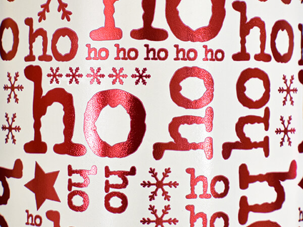 """Red and White Ho Ho Wrapping Paper 24"""" x 417', Half Ream Roll"""