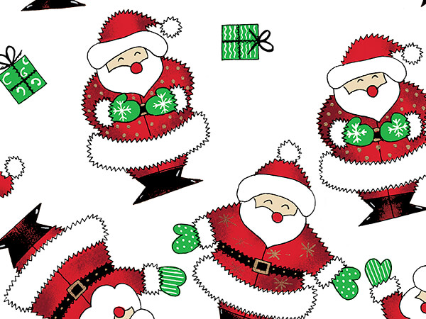 """Happy Santa Wrapping Paper 30"""" x 833', Full Ream Roll"""