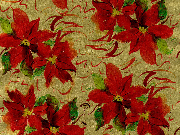 "Red Poinsettias on Gold 30""x 833' Full Ream Gift Wrap (Metallized)"