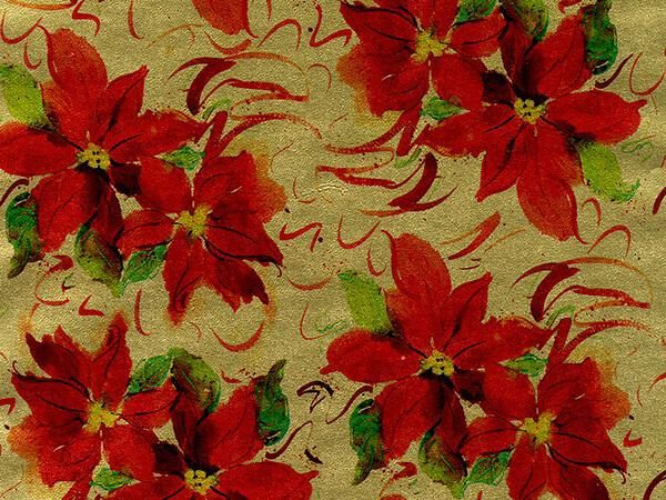 "Red Poinsettias on Gold Metallized Gift Wrap, 24"" x 417', Half Ream"