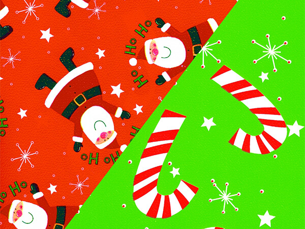 "Ho Ho Santa & Stars 24"" x 417' Half Ream Gift Wrap (Reversible)"