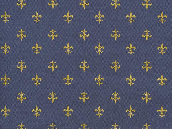 "Navy Blue Fleur De Lis 24"" x 417' Half Ream Roll Gift Wrap"